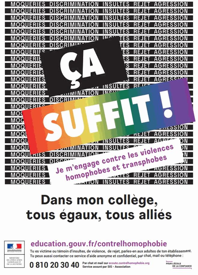campagne ça suffit homophobie transphobie au collège